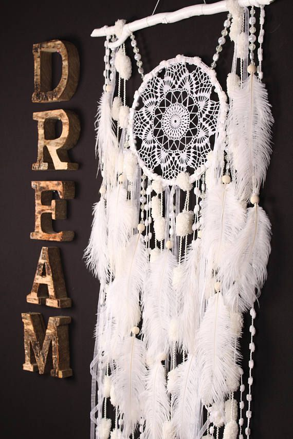 White Dreamcatcher Boho Dream Catcher Large white crochet dreamcatcher gift wedding ceremony photo backdrop Dreamcatcher Bohemian handmade Approximately 45.5 / 58 cm The shape of the natural branch can be partially different This amulet like Dreamcatcher - is not just a decoration of the interior. It is a powerful amulet, which is endowed with many properties: - Dreamcatcher protects and ensures a healthy sleep to the owner; Dreamcatcher helps in practice lucid dreaming. It helps t...