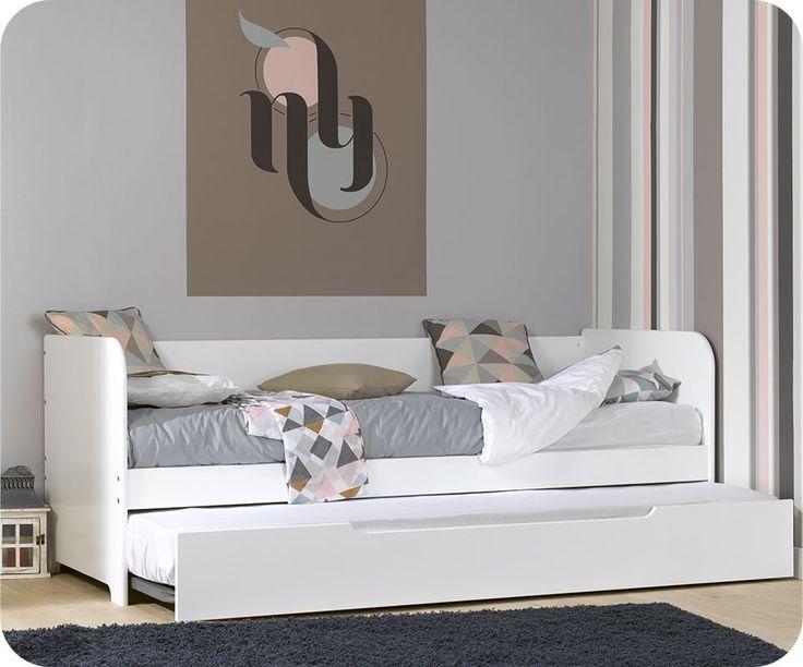 Lit gigogne bali blanc 80x200 cm bali for Amenagement chambre ado avec matelas renault 80x200