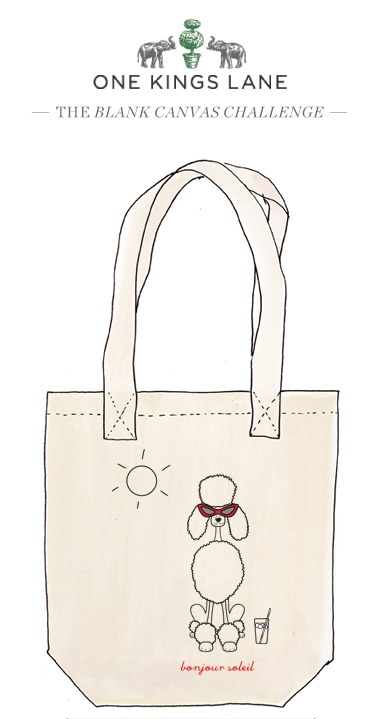 Love this tote design by Kristina Fiore? Cast your vote by re-pinning it and visit www.onekingslane.com/designchallenge to check out our Blank Canvas Challege contest rules and more!