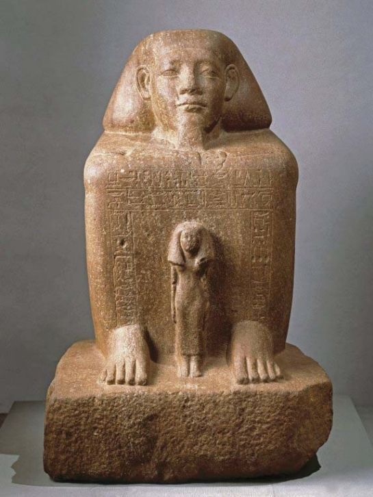 Statue-cube de Senousret-Senbefny avec sa femme devant lui, 12e dynastie, règnes de Sésostris III et d'Amenemhat III.