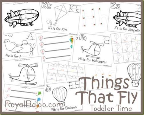 Free Preschool Printables: Things That Fly Theme