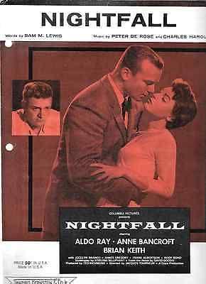 NIGHTFALL 1957 Rare Film Noir Sheet Music ALDO RAY ANNE BANCROFT BRIAN KEITH