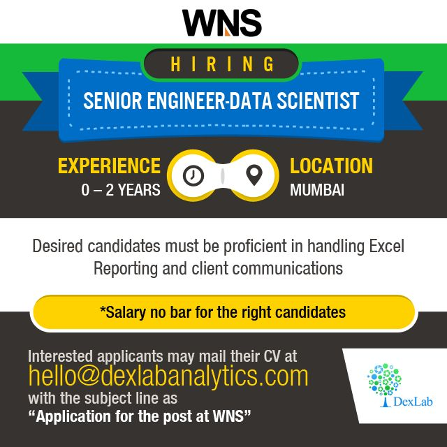 """Interested applicants must mail their CV to http://www.dexlabanalytics.com/contact with the subject line as """"Application for the post at WNS""""  Urgent requirement for business analyst with a major industry leading Business Process Management (BPM) company headquartered in Mumbai. Candidates should possess problem-solving skills, evaluation skills, critical thinking abilities, and good communication abilities."""