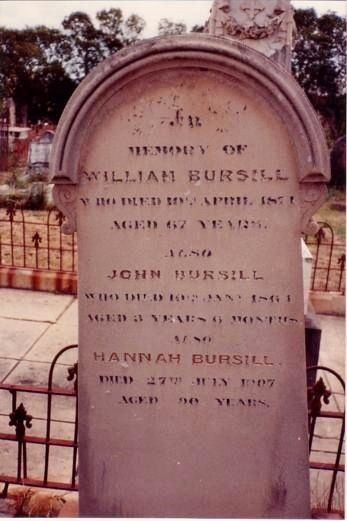 Grave of William Bursill Convict, Cambelltown, NSW. Cemetery cut by highway. Headstone near front fence.