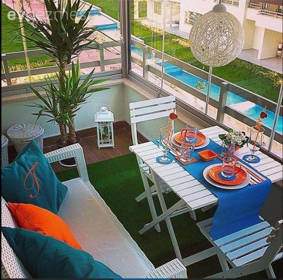 Balkon, Mavi, Turuncu
