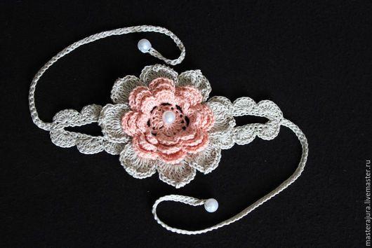 Вязаное украшение для ног  `Чайная роза`, браслет на ножку, handmade, брслет крючком.