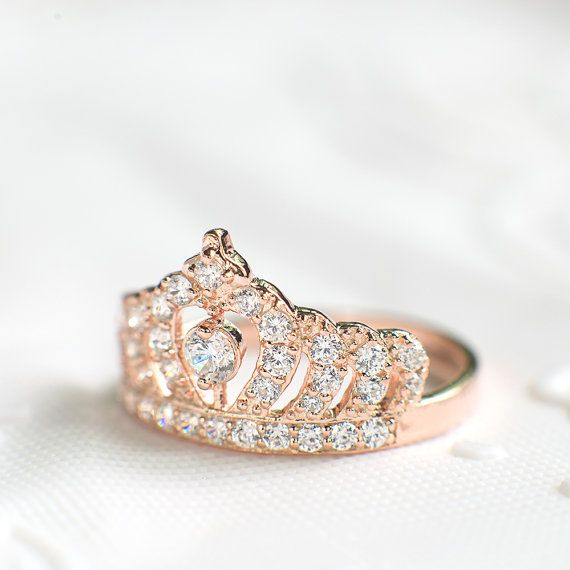 Rose Gold Crown Ring Princess Crown Ring Sterling by ZakviJewels
