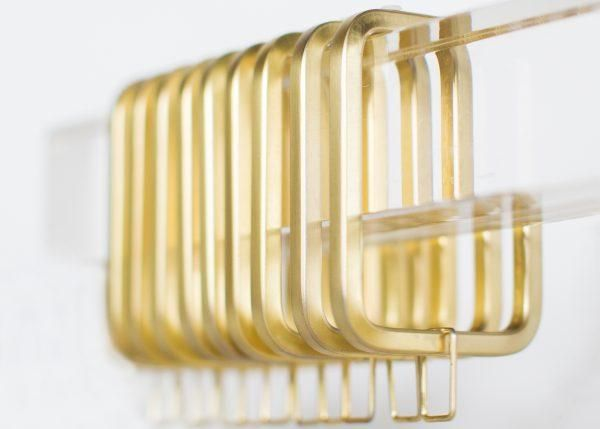 Polished Gold Square Rings Lucite Or Metal Curtain Rectangular