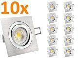 LED Einbau-Leuchten Set 10 Stück QF-2 schwenkbar, Einbau-Strahler Aluminium gebürstet, SMD 3,5W LEDs warm-weiß, GU10 230V [IHRE VORTEILE: einfacher EINBAU, hervorragende LEUCHTKRAFT, LICHTQUALITÄT und VERARBEITUNG] - #981