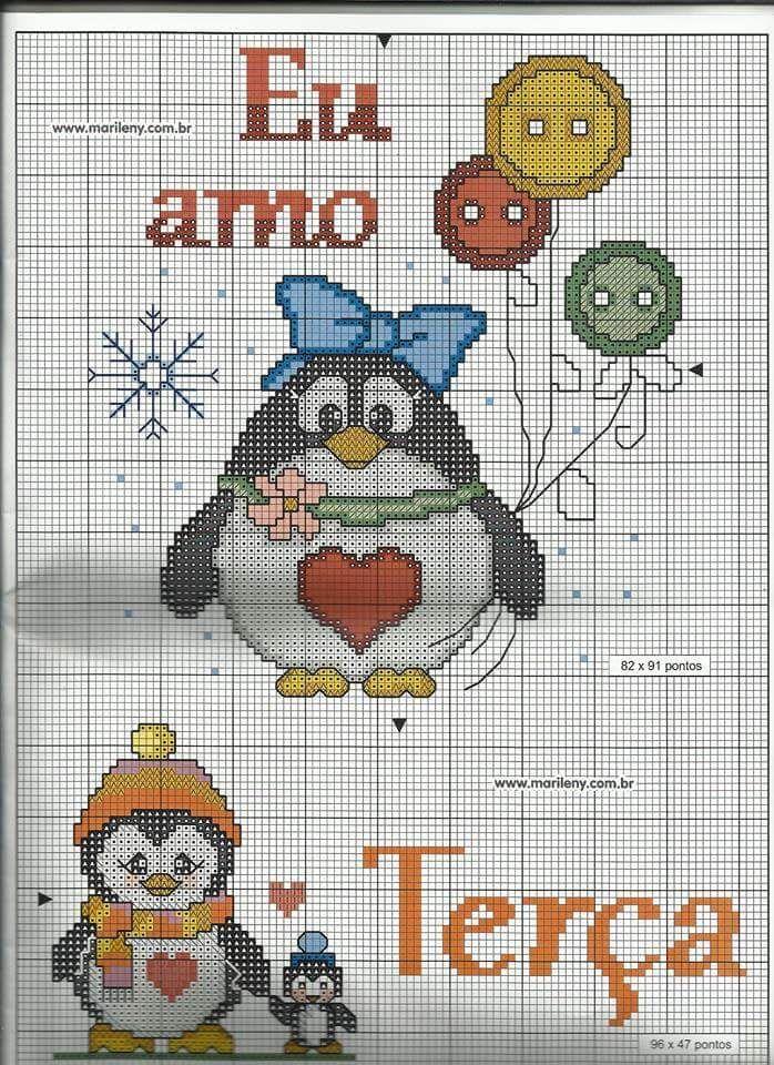 Ponto cruz e crochê...Made in Portugal: Semaninha Pinguim em Ponto Cruz (2)