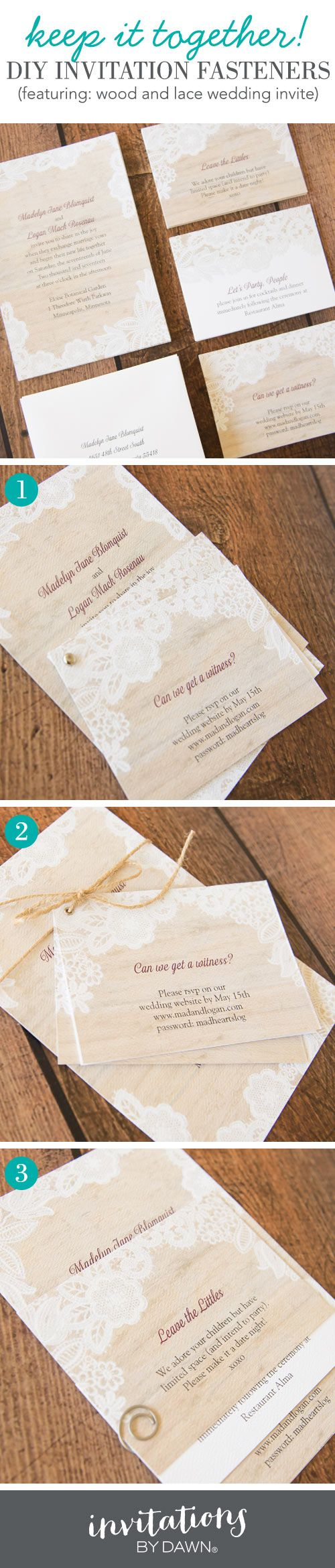 42 best wedding diy images on pinterest wedding stationery diy wedding invitation fasteners stopboris Image collections