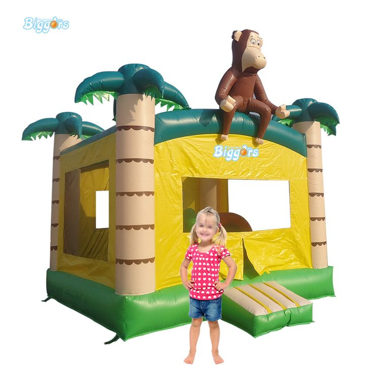 Tropical Inflatable Monkey Bounce House Backyard Inflatable Air Bouncer Trampoline For Kids