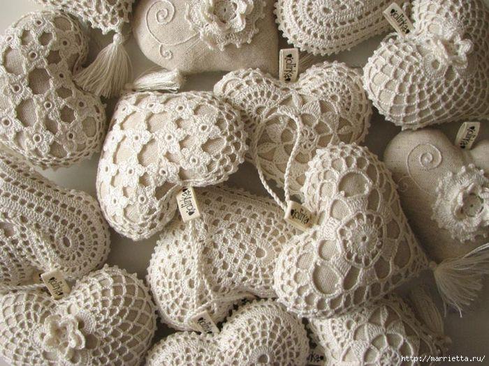 Текстильные сердечки. Большая коллекция очень красивых валентинок