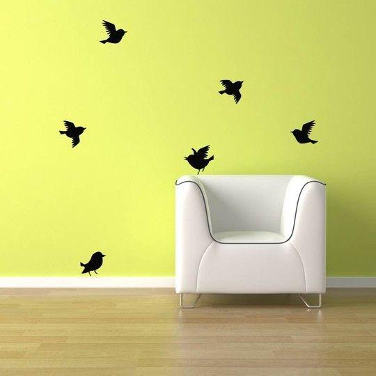 6 Birds flying Wall Decals
