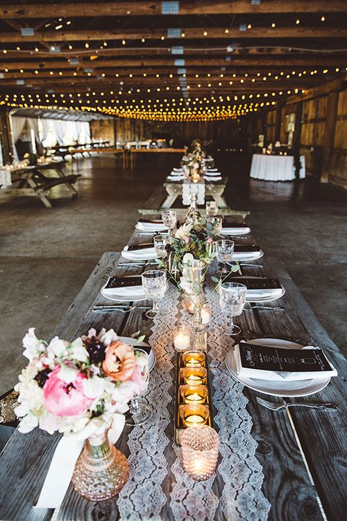 Rustic Romantic in Virginia's Blue Ridge Mountains, Reception Seating at Reclaimed Picnic Tables | Brides.com