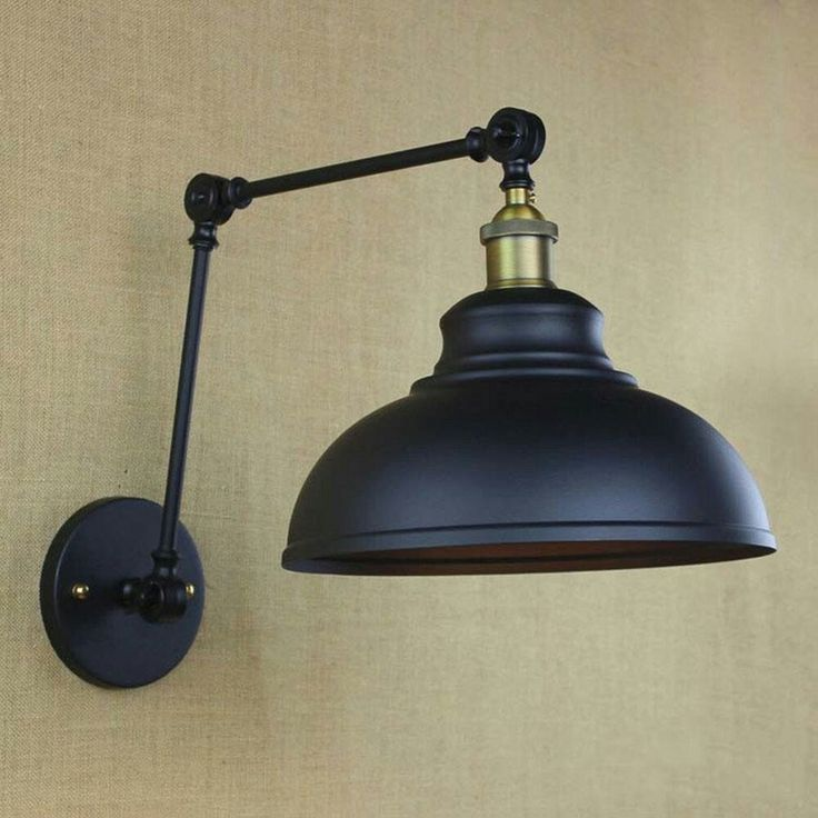 12 best light ideas images on pinterest sconces appliques and wide dome shade industrial adjustable wall light in black finish fashion style industrial lighting mozeypictures Image collections