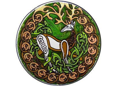"10"" Round Irish CELTIC STAG Herne Deer Stained Art Glass Suncatcher"