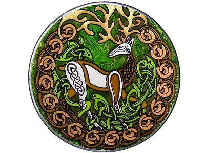 "10"" Round Irish CELTIC STAG Herne Deer Stained Art Glass Suncatcher"