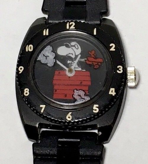 Snoopy Watch Flying Ace Red Baron Peanuts Vintage Working #UnitedFeatureSyndicateInc