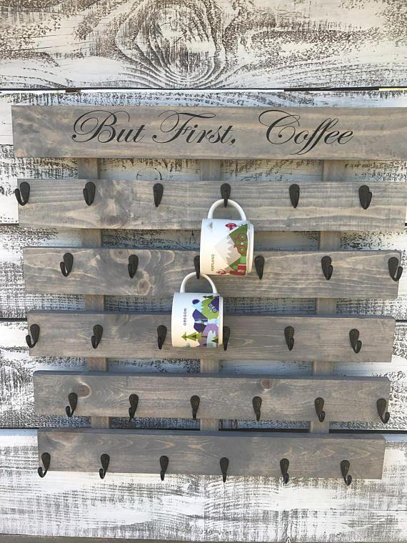 Coffee Cup Holder Coffee Cup Rack Coffee Mug Rack Coffee Mug Holder Coffee Cup Display Rustic Coffe Coffee Cup Holder Coffee Mug Wall Rack