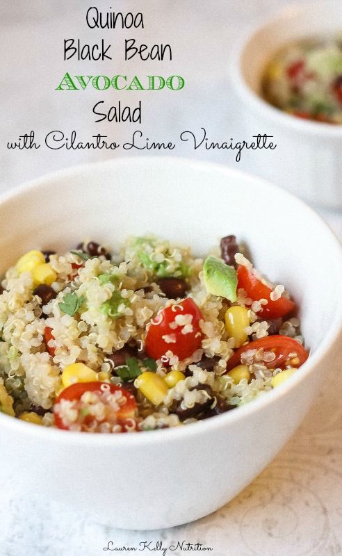 I make this so often! Everyone loves this Quinoa Black Bean Avocado Salad with Cilantro Lime Vinaigrette, it's great for parties! gluten free