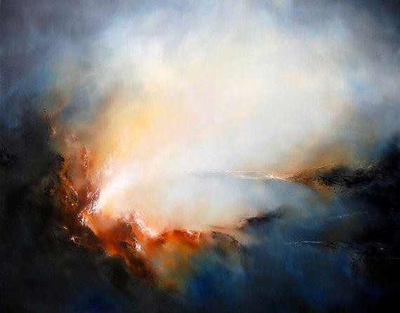 "Artículos similares a Large Canvas Abstract Landscape Painting "" Salvation"" en Etsy"