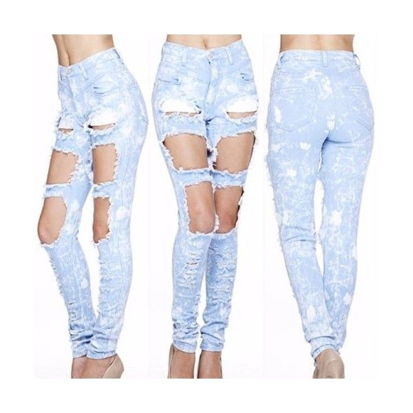 High Waist Light Blue Acid Wash Medium Cut Outs Jean Pants All Sizes... ❤ liked on Polyvore featuring jeans, bottoms, pants, light blue acid wash jeans, acid wash jeans, high rise acid wash jeans, highwaist jeans and blue acid wash jeans