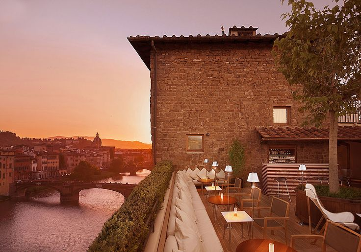 """The recently refurbished """"La Terazza"""" – the roof terrace bar of the Continentale hotel in Florence, Italy.Florence Hotel Interior Designs"""