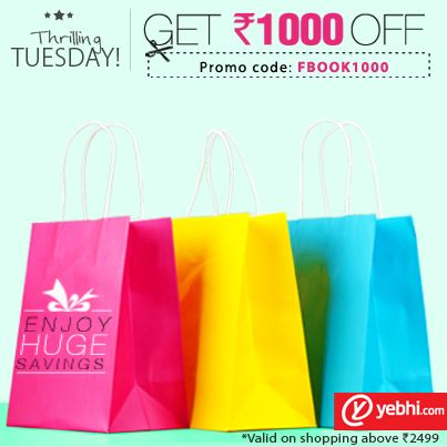Thrilling Tuesday..!! Get 1000 OFF on Rs.2499 & above  This offer is only for today ..!! Grab it soon before the offer ends  ...!!