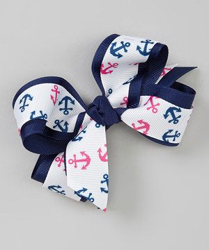 Look at this #zulilyfind! Pink & Navy Anchors Bow Clip by Picture Perfect Hair Bows #zulilyfinds