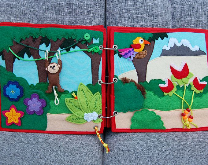 Piratebook - 2 Quiet book pages Jungle PATTERN & TUTORIAL