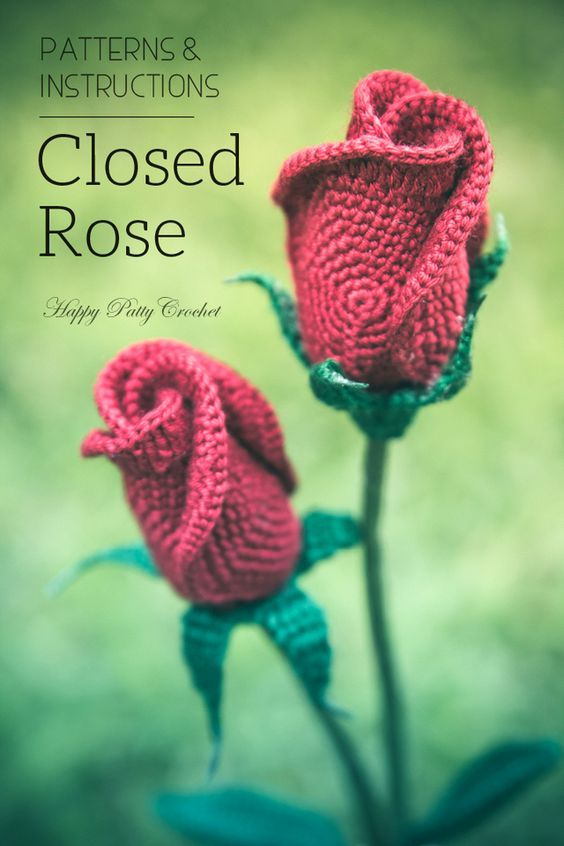 Crochet Rose Pattern Closed Rose Crochet Flower