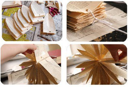 Estrellas de papel con hojas de libros