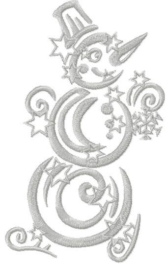 Christmas snowman free machine embroidery design