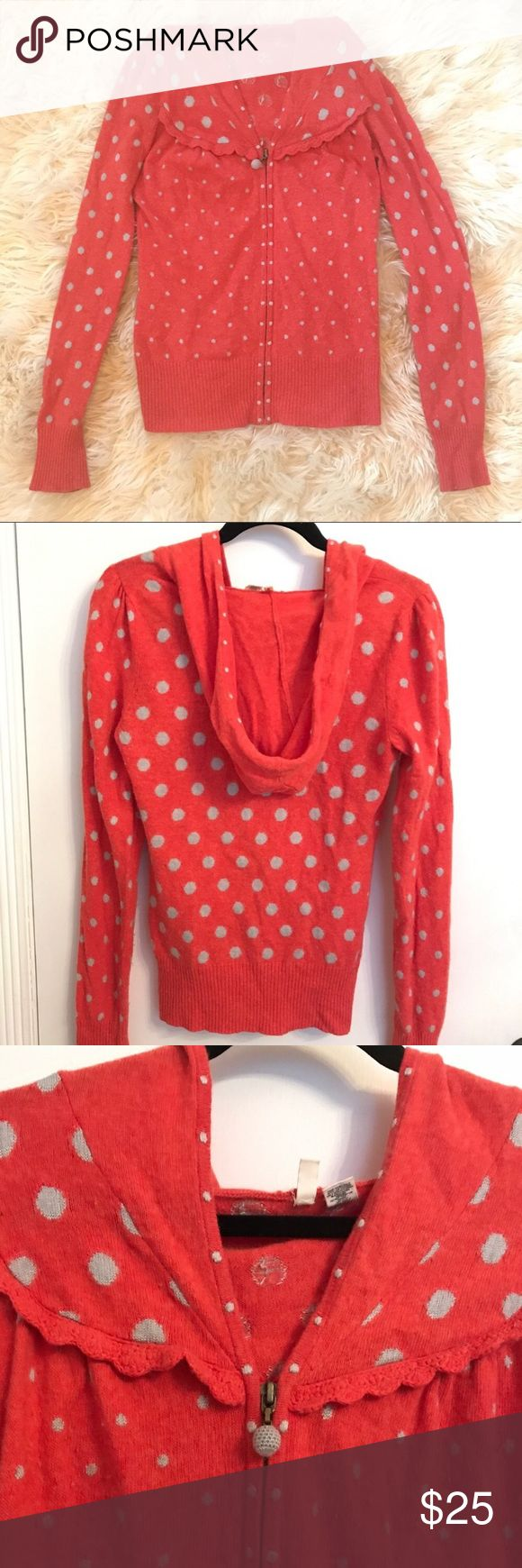 Anthropologie Polka Dot Sweater Super cute light weight hooded zip up MOTH sweater from Anthropologie. It's a cheerful orange color with grey polka dots. Size Medium. Crotchet details add charm to this fun top. Perfect for fall! 🍁🍂🌼🌾 Anthropologie Sweaters