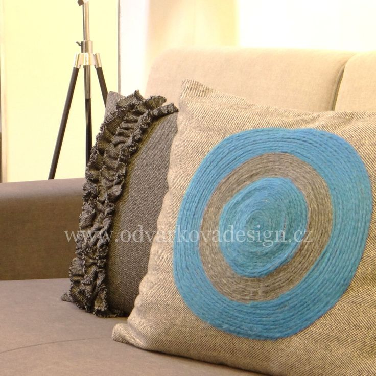 """pillows """"WELL-BEING"""" and """"BLUE SPIRAL"""", collection """"PLEASURE TO TOUCH"""". www.odvarkovadesign.cz"""