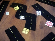 Make your own toy car road set - idea from Make the Best of Everything. Use for making maps?