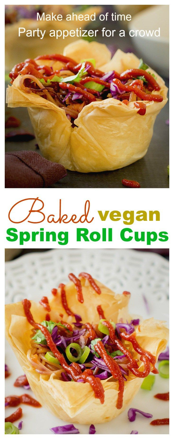 Baked deconstructed veg spring rolls makes a showstopper appetizer made with phyllo sheets #vegan with make ahead of time tips