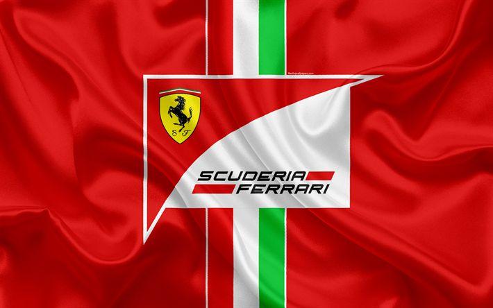 Download imagens Scuderia Ferrari De Fórmula 1, 4K, racing team, Fórmula 1, Logo da Ferrari, F1, de seda vermelha da bandeira, desporto motorizado, Itália