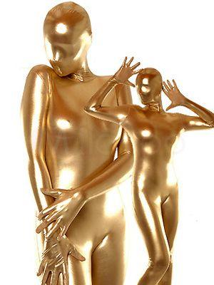 Halloween Gold Shiny Unisex Latex Suit