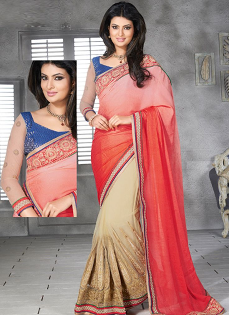 Red & Cream Brasso Georgette Half N Half Designer Saree