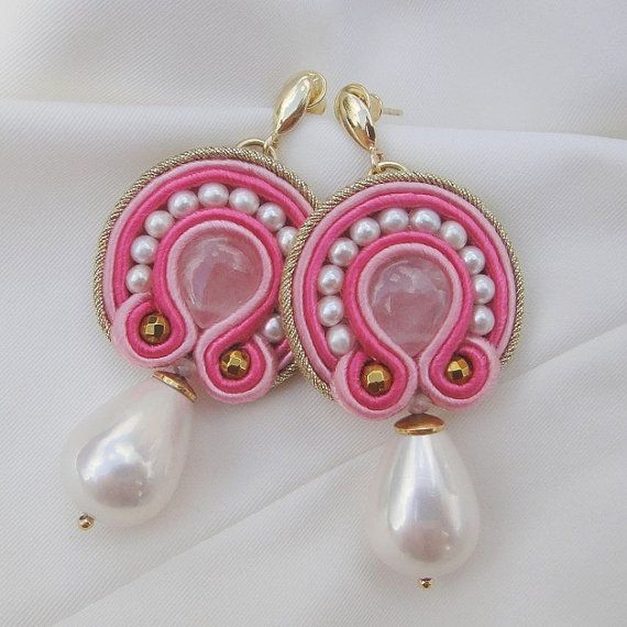 Peonie soutache earrings with pink quartz by BlueButterflybizu