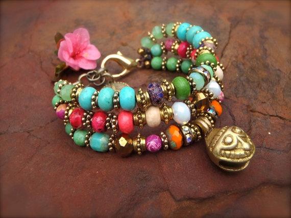 SMILEY Face JINGLE BRACELET 3 strand bracelet Hippie bracelet stackable bracelet Gypsy beaded bracelet Brass bracelet rhinestones statement. $65.00, via Etsy.