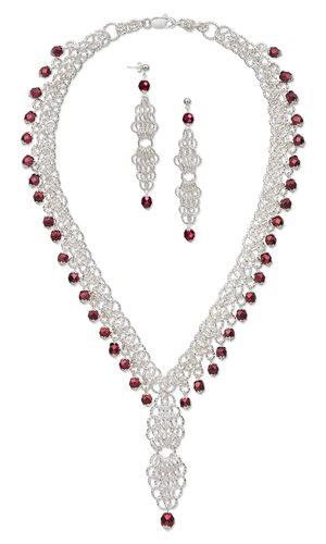 Single-Strand Necklace and Earring Set with Czech Fire-Polished Glass Beads and Chain Mail - Fire Mountain Gems and Beads