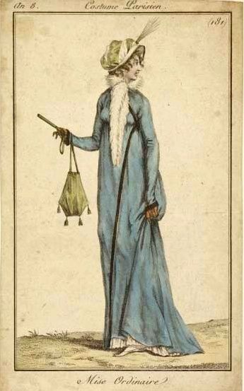 The loveliest 'ordinary outfit' I have ever seen! The green bonnet and matching reticule, the white fur scarf and the blue pelisse. an8 Costume parisien