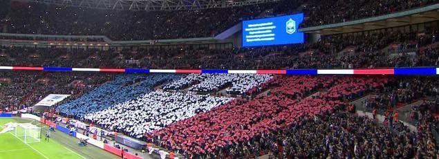 La Marseillaise a été reprise en chœur par les spectateurs présents au stade de Wembley, ce soir à Londres, pour le match amical Angleterre-France.