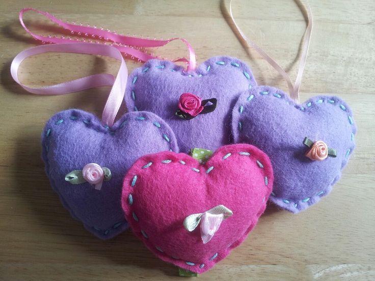 Pink and purple felt hearts vintage style