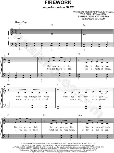 Print and download sheet music for Firework by Katy Perry. Sheet music arranged for Easy Piano in C Major (transposable).