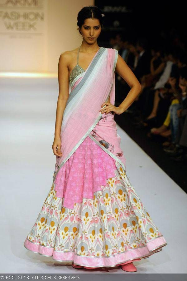 Pink lengha by Shravan Kumar at Lakme Fashion Week (LFW) Winter/Festive 2013