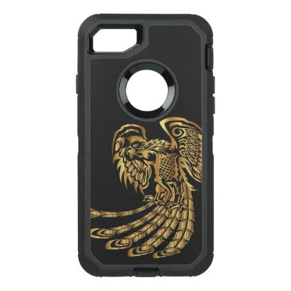 Golden Phoenix Rising OtterBox Defender iPhone 8/7 Case - golden gifts gold unique style cyo